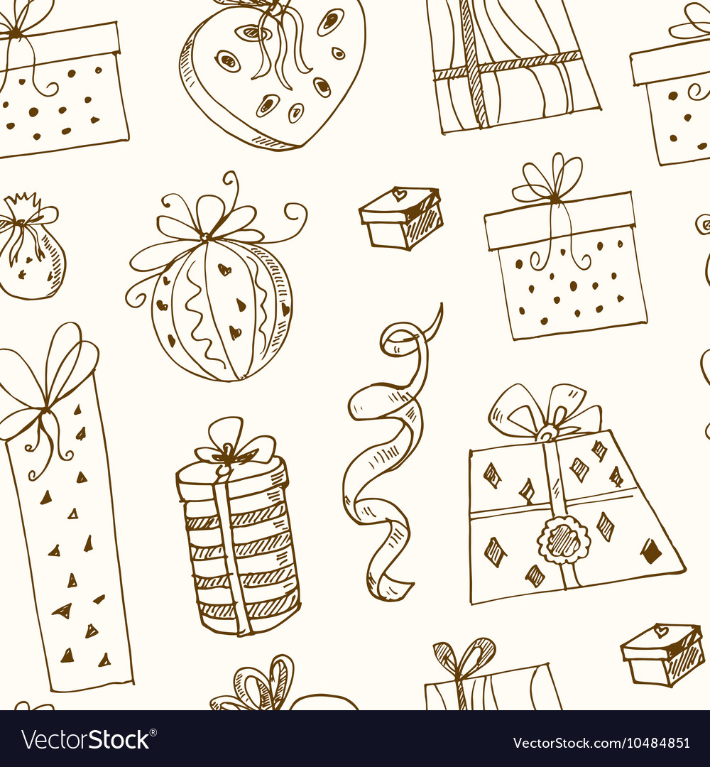Gift boxes doodle seamless pattern vintage