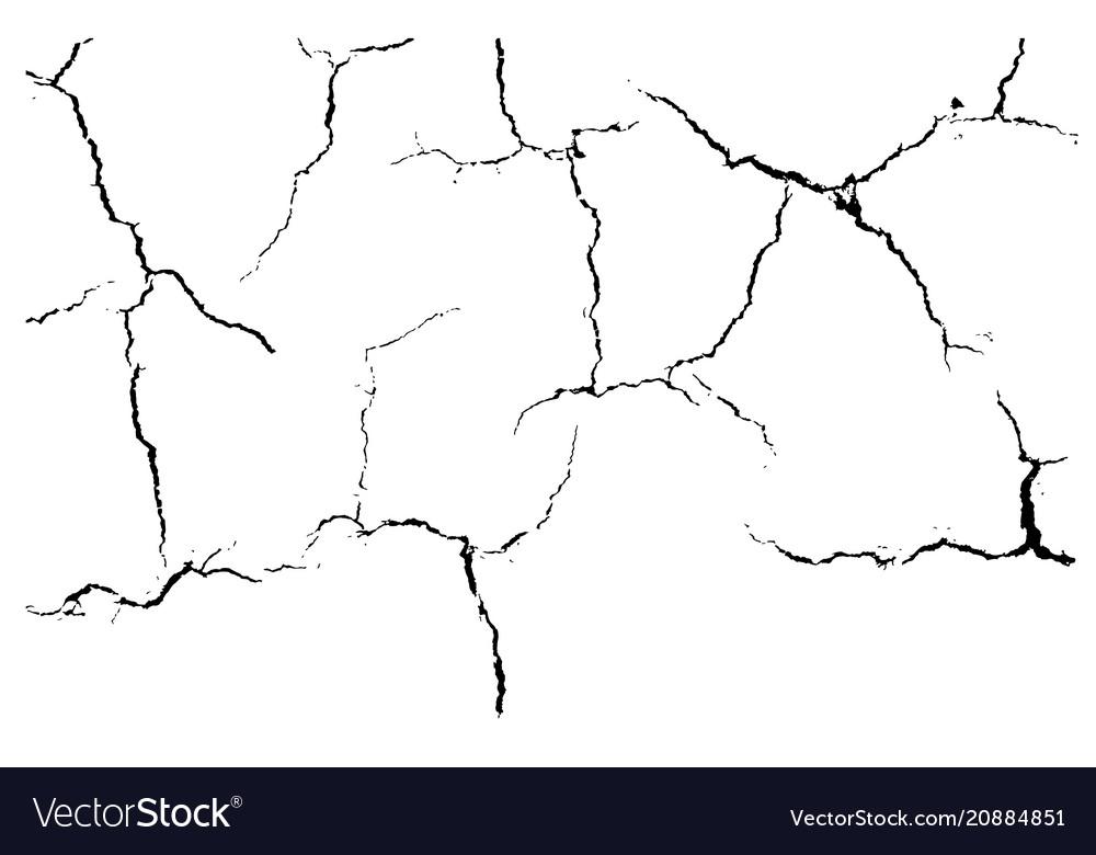 Ground cracks isolated on white background