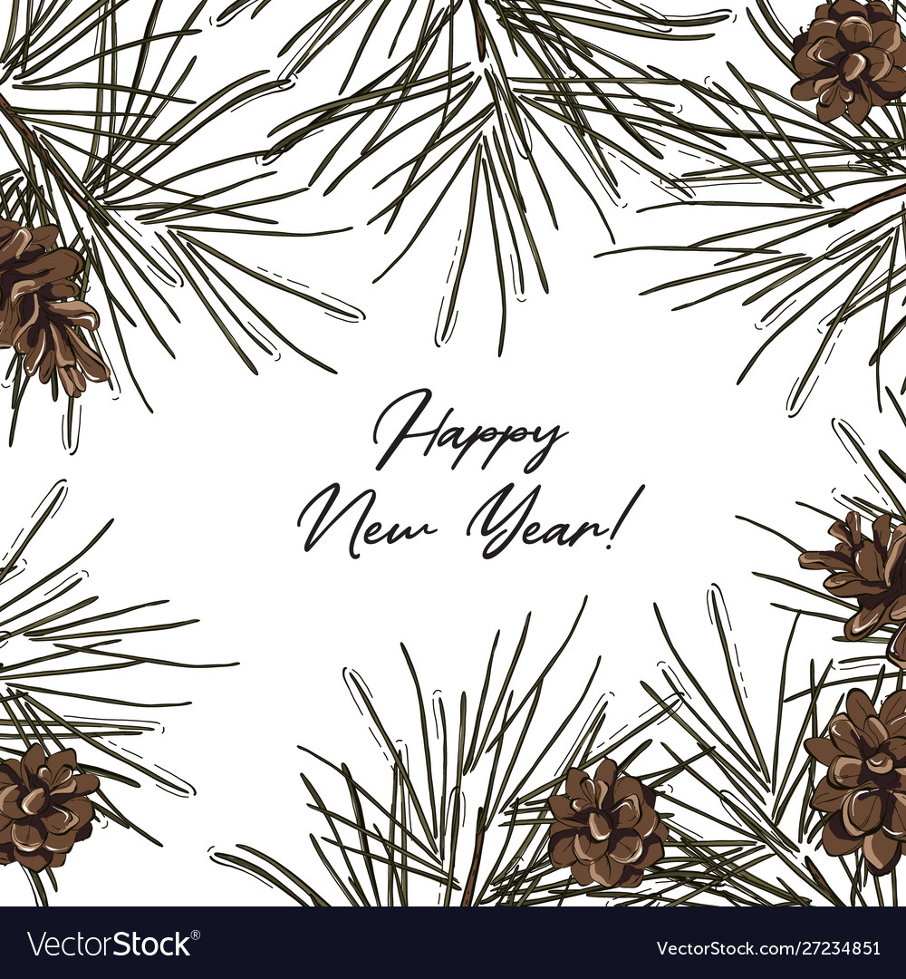 Hand-drawn fir frame with pine cones and