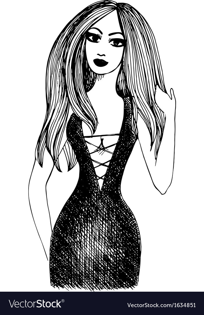 Hand drawn Party girl