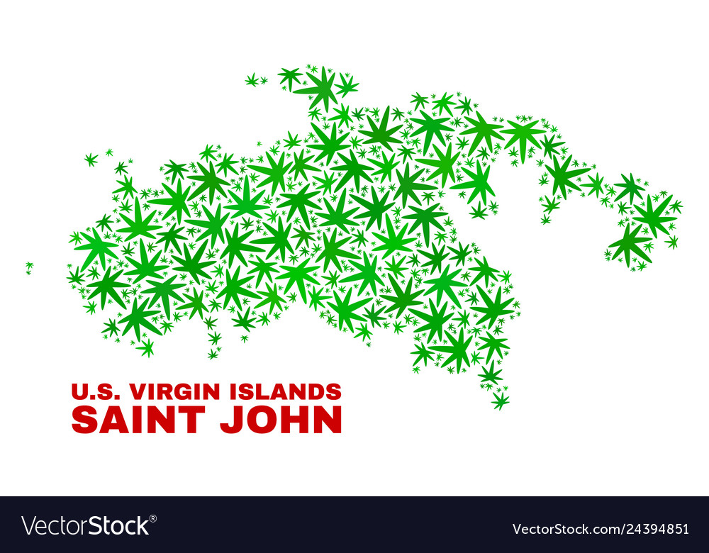 Marijuana leaves mosaic saint john island map