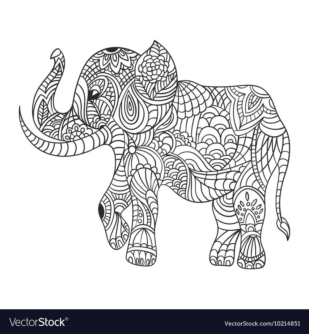 Monochrome hand drawn zentagle of an elephant