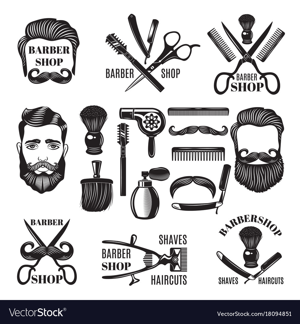 Monochrome pictures of barber shop tools