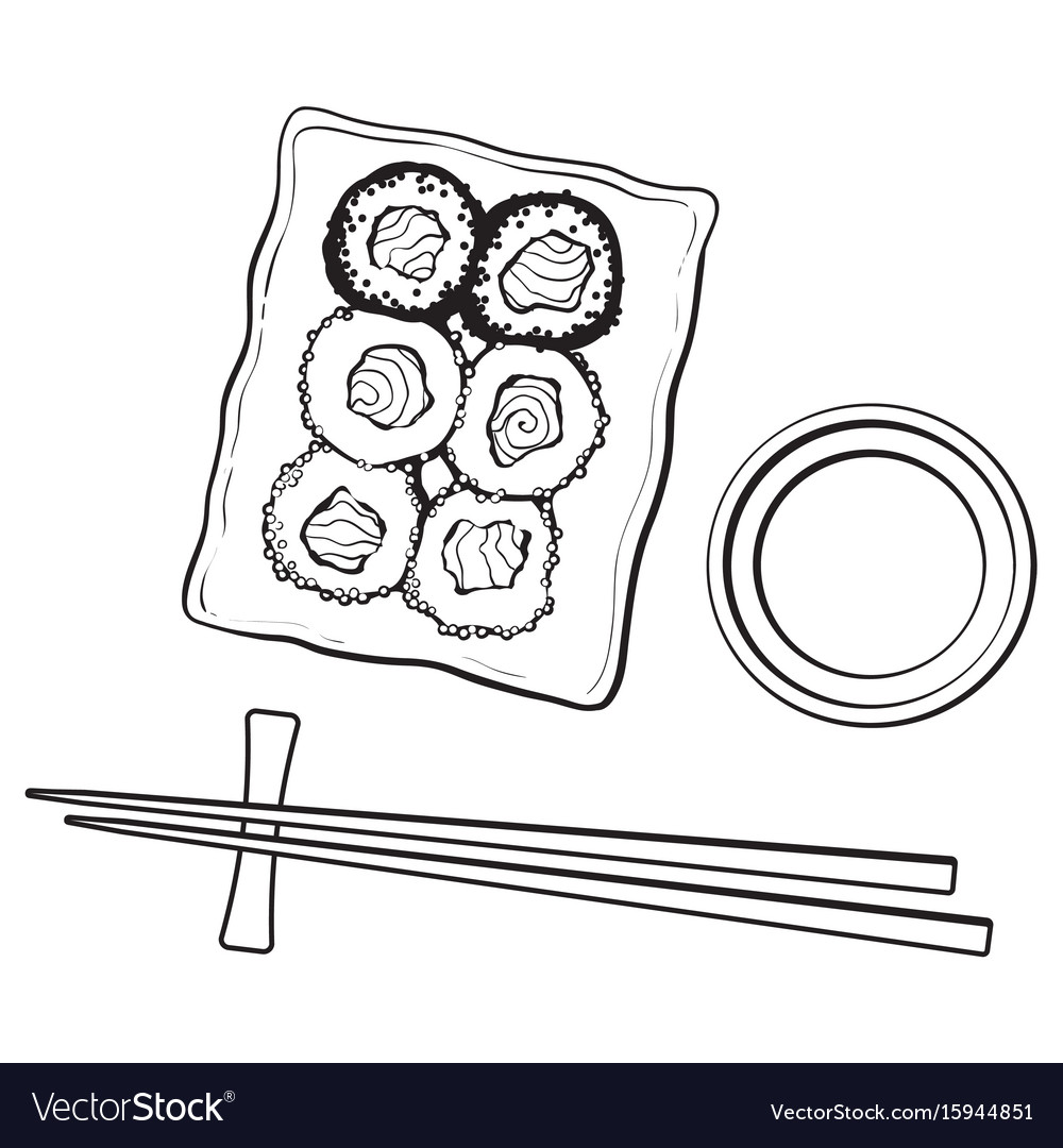 Plate of japanese sushi rolls chosticks and soy