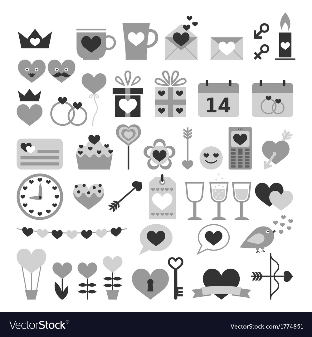 Romantic set for Valentine day date weddings vector image
