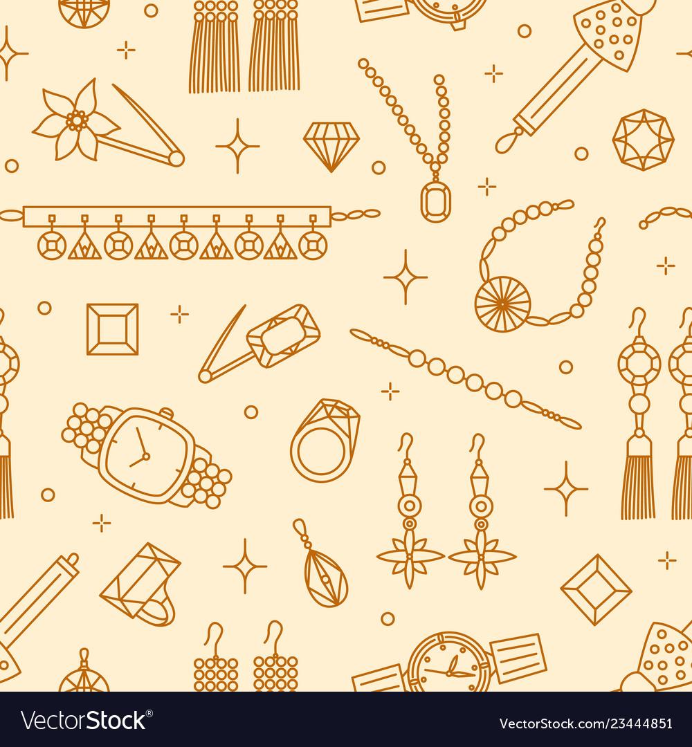 Seamless pattern with elegant jewelry items drawn