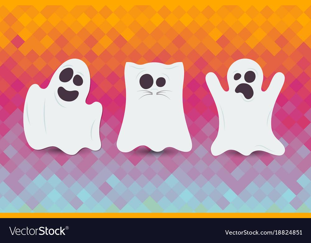 Set of cute halloween ghost happy halloween card