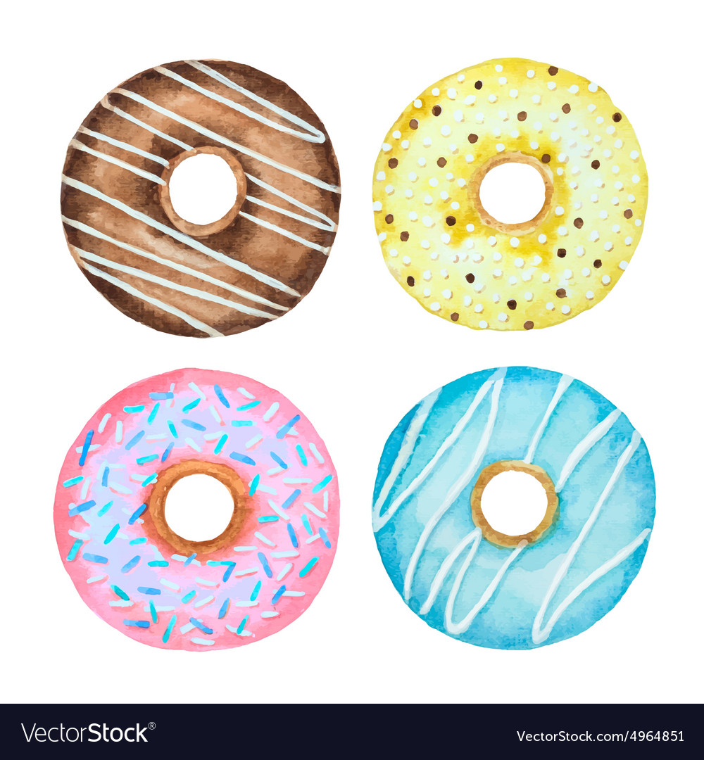 Watercolor set of donuts vector image