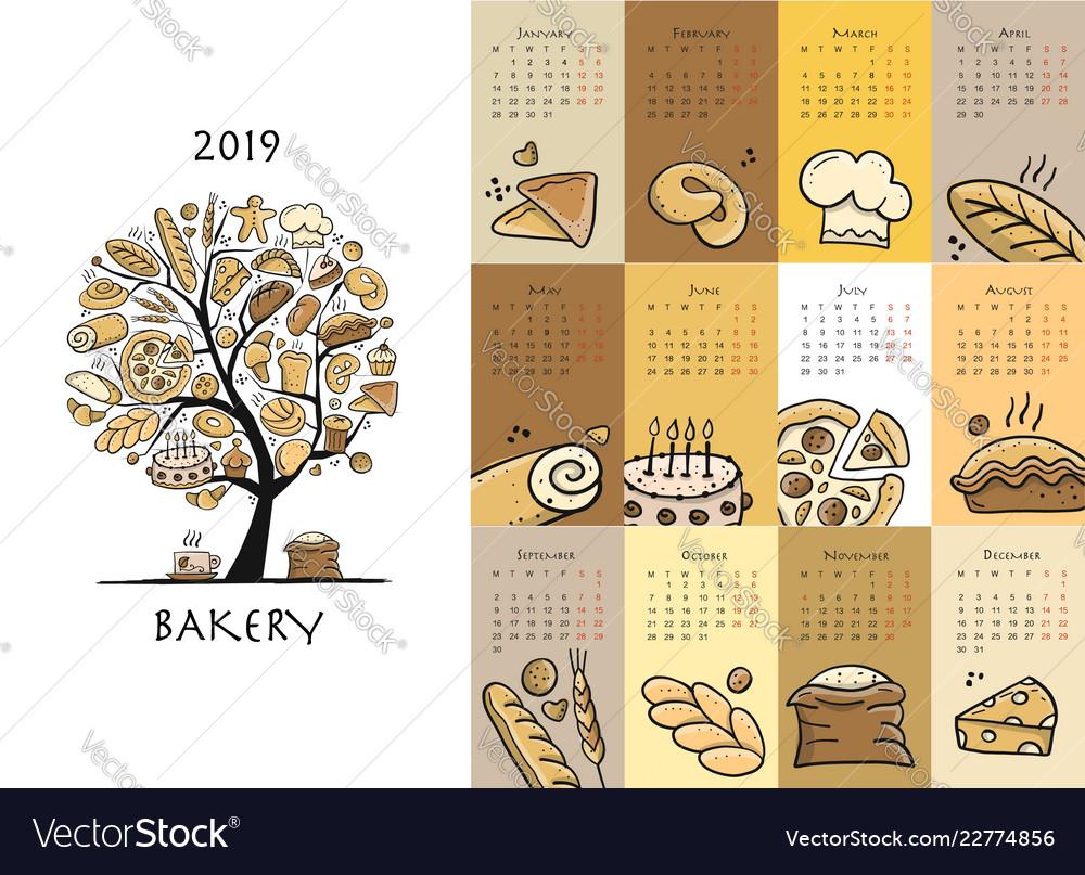 Bakery calendar 2019 design