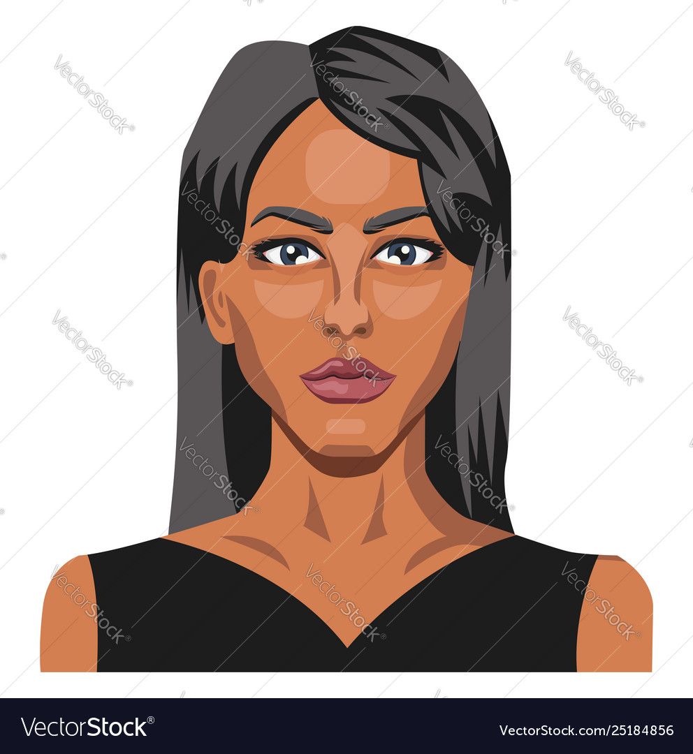 Beautifu caucasianl girl with long black hair on