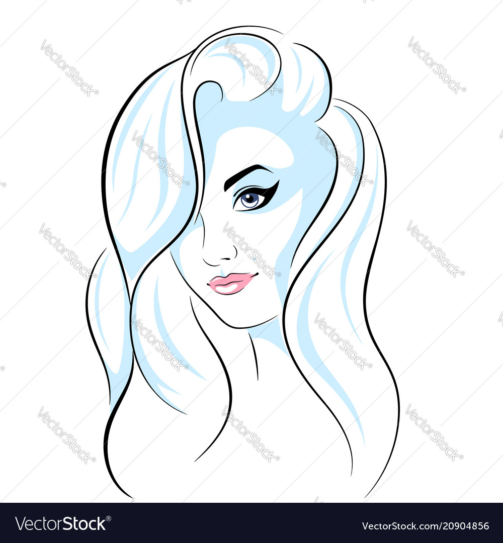 Beautiful head girl - line vector image