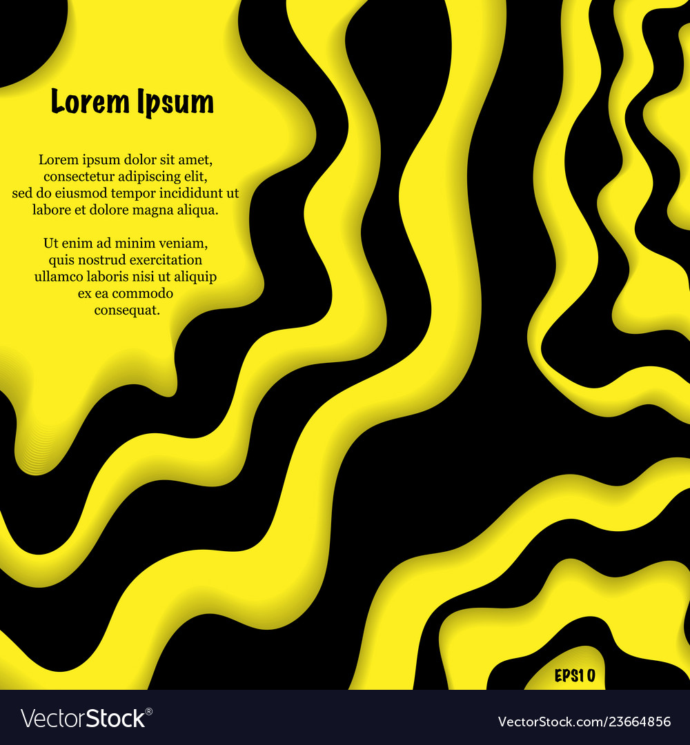 Blak and yellow paper waves background