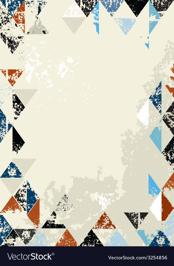 Bordered Background of grunge triangles vector image