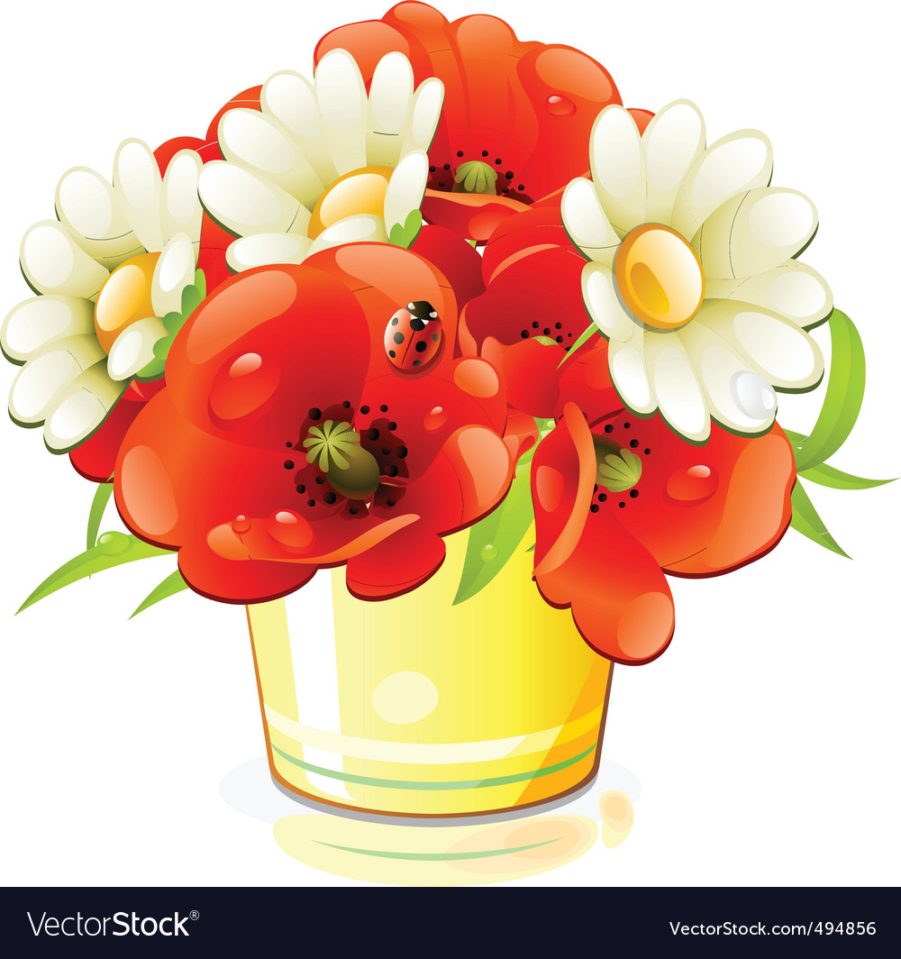 Bunch Of Flowers Royalty Free Vector Image Vectorstock