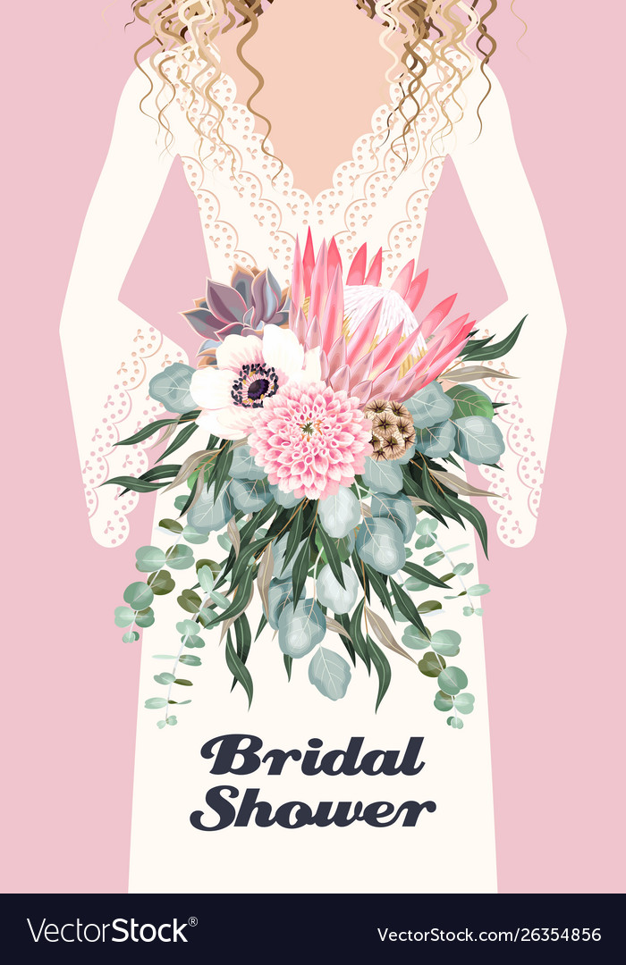 Card with bride and wedding bouquet