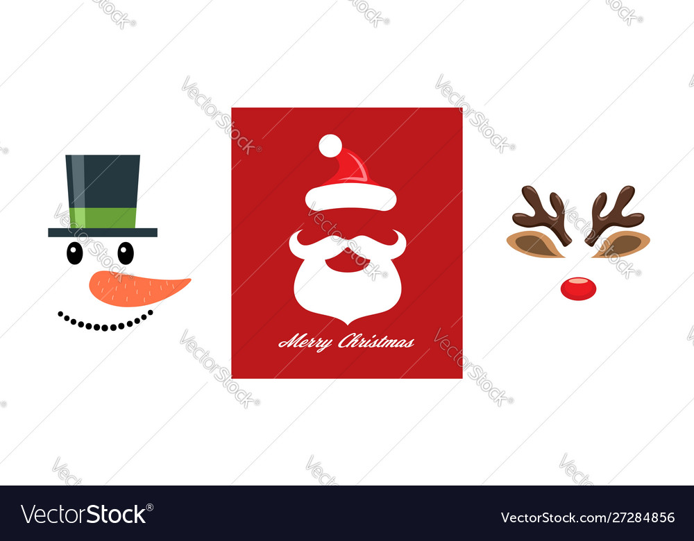 Christmas icon set snowman santa claus and
