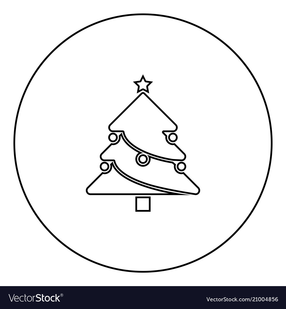 Christmas Tree Outline.Christmas Tree Black Icon Outline In Circle Image