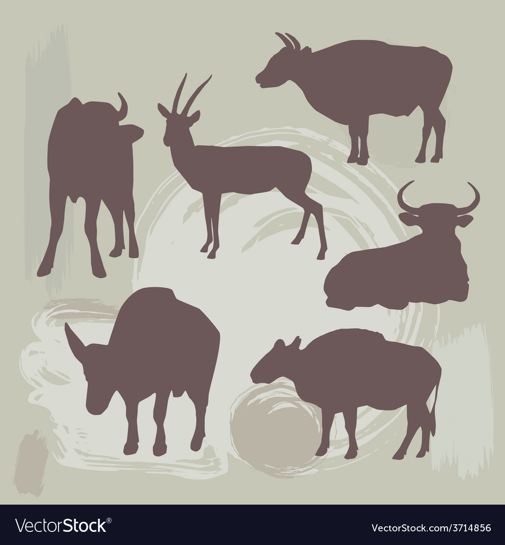 Cow bull and deer silhouette on grunge background