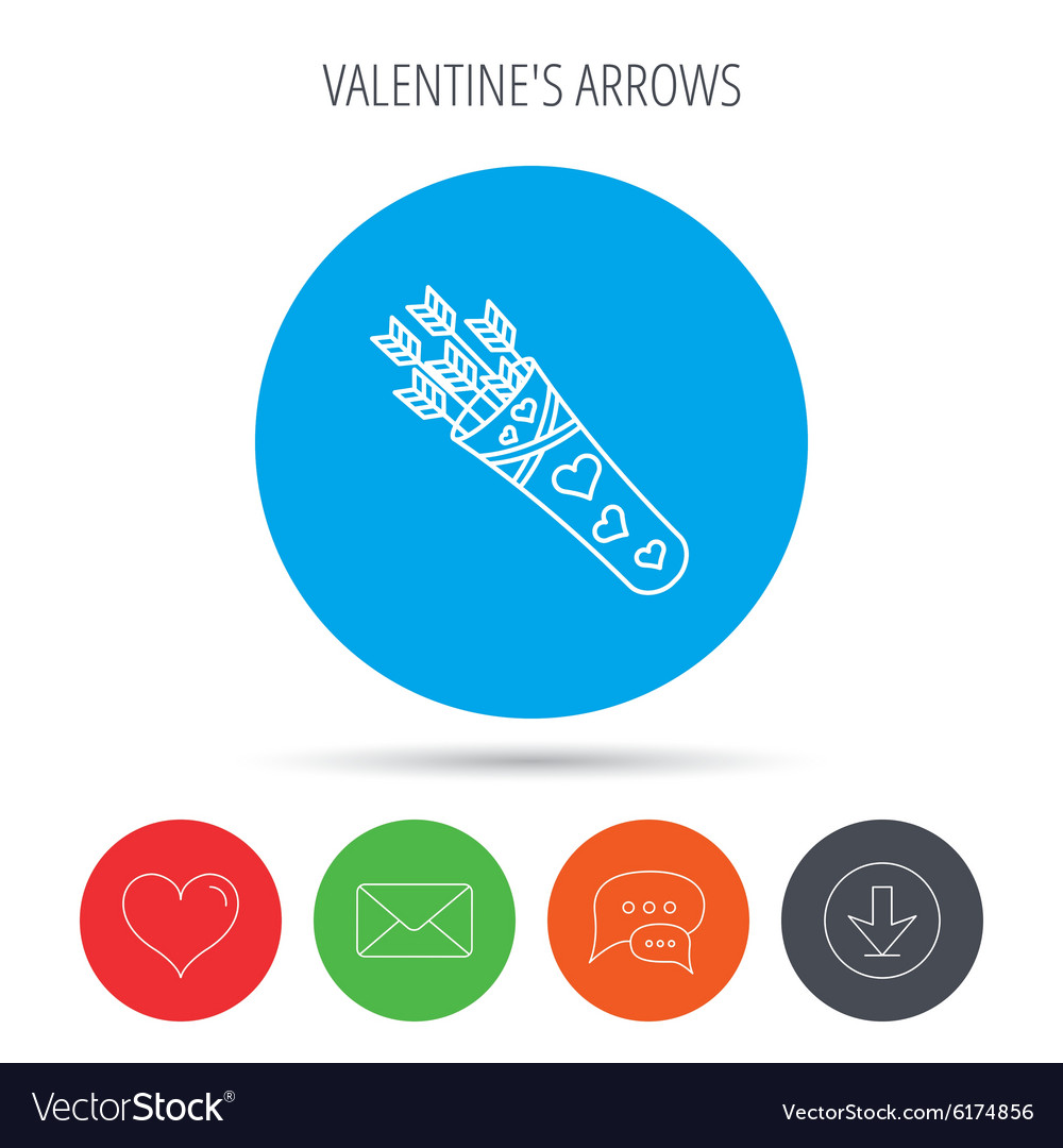 Cupid arrows icon Love weapon sign