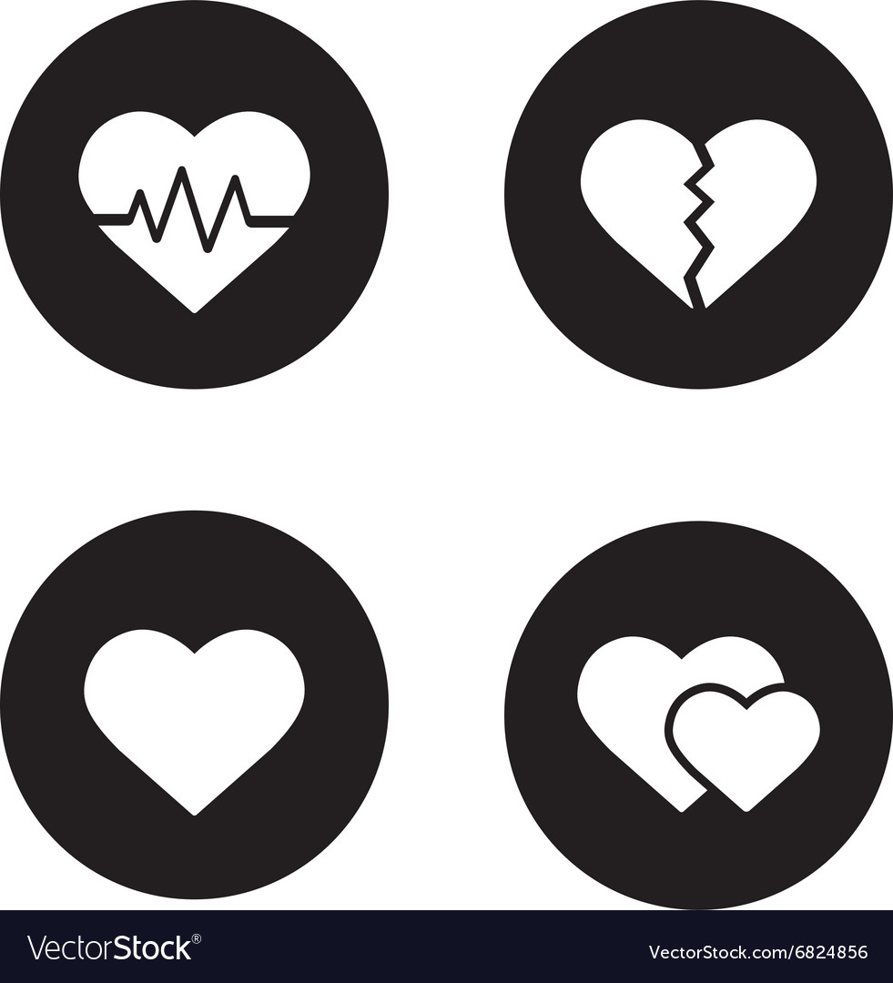 Heart shapes black icons set