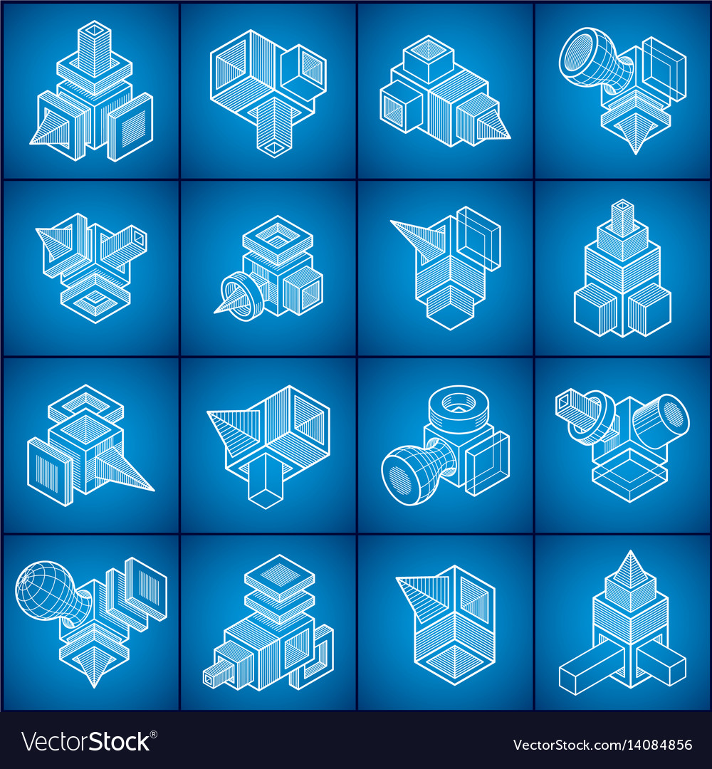 Isometric abstract shapes set