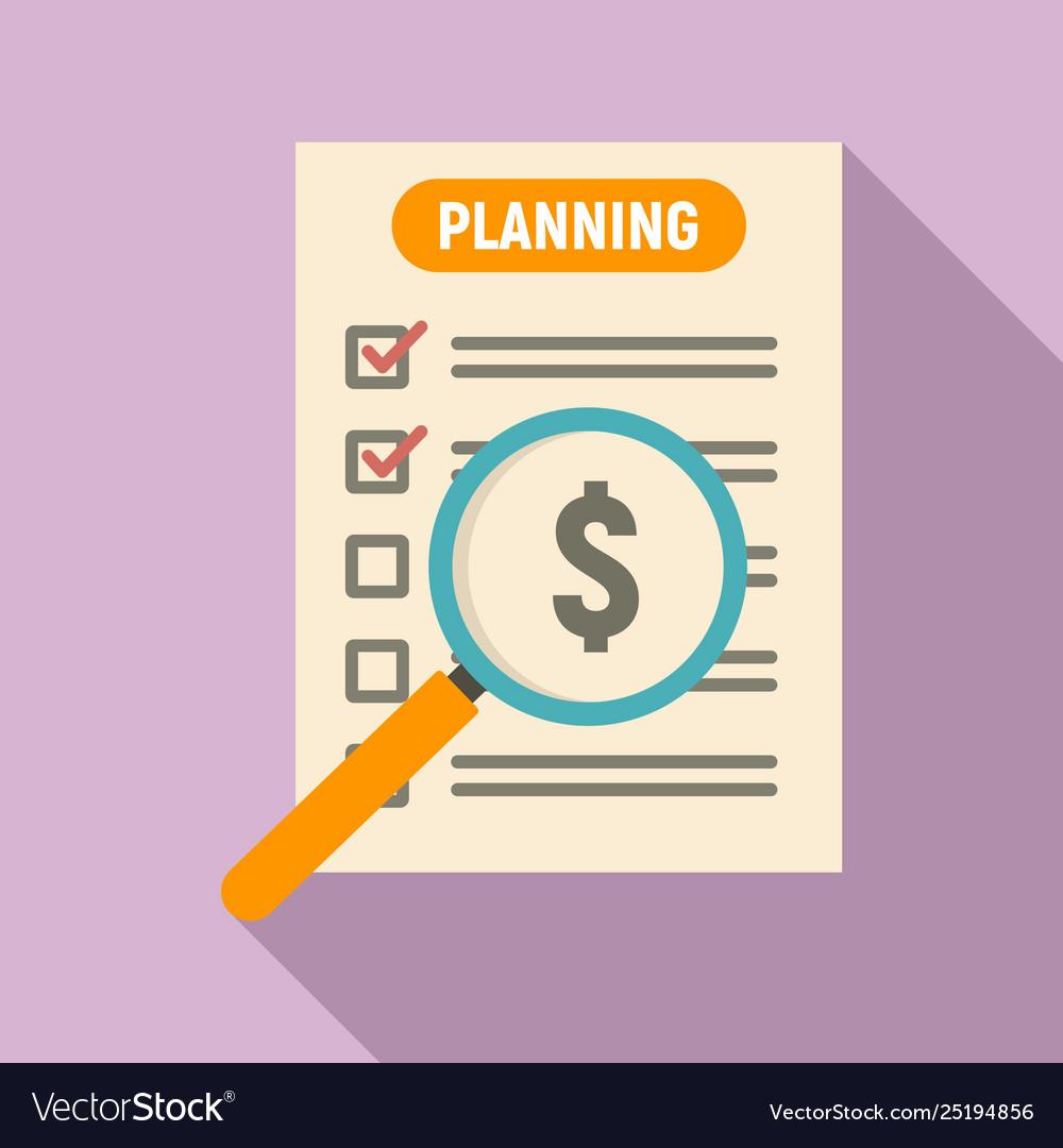 Money planning icon flat style