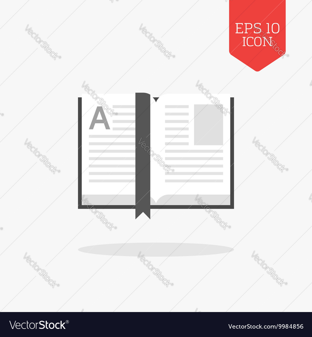 Open book icon Flat design gray color symbol vector image