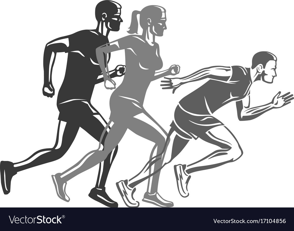 Set of runners silhouettes logo for sport company