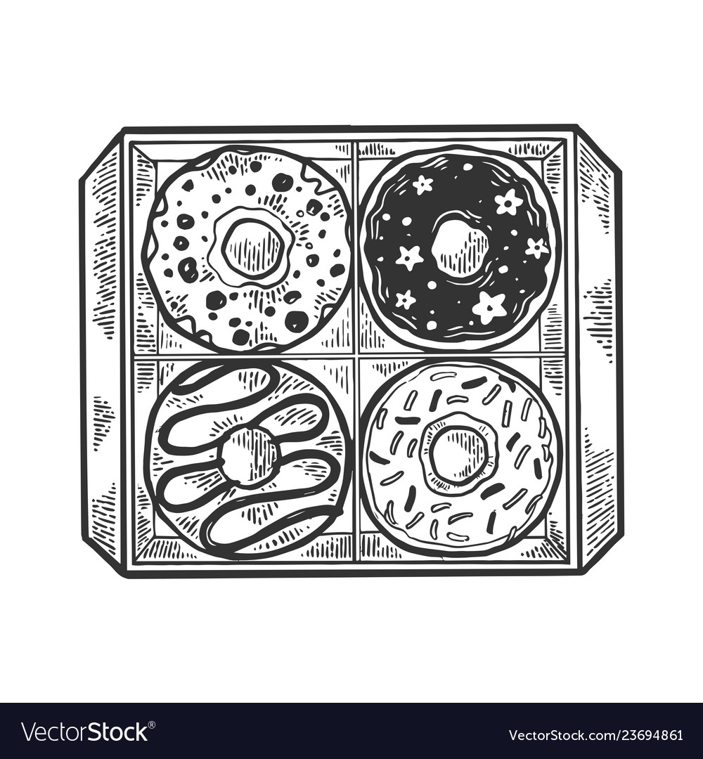 Box with donuts engraving vector