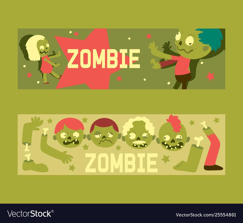 Cartoon zombie pattern halloween scary