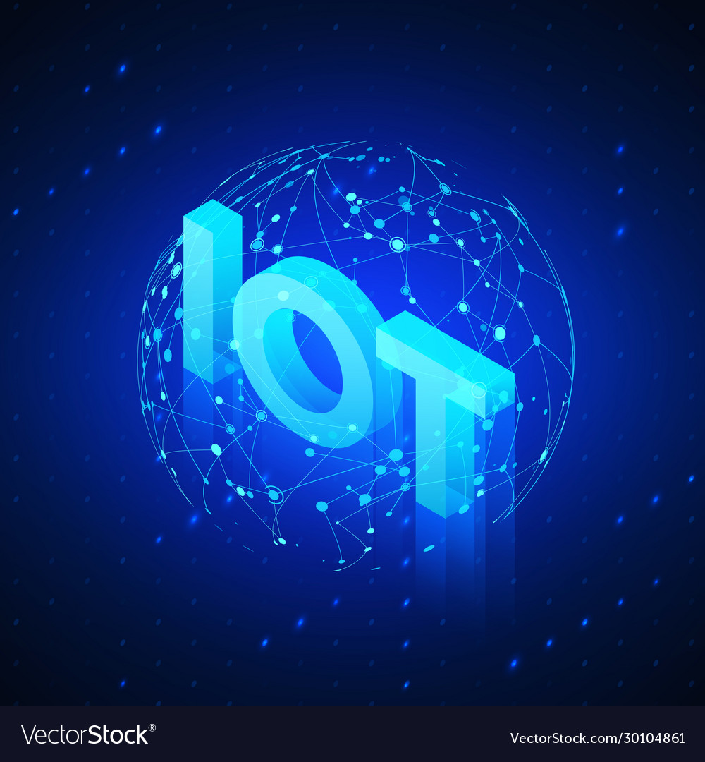 Global network hologram with text iot incide