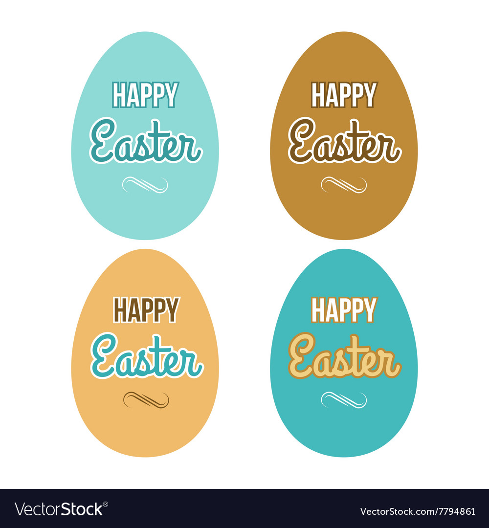 Happy Easter set eggs calligraphic lettering