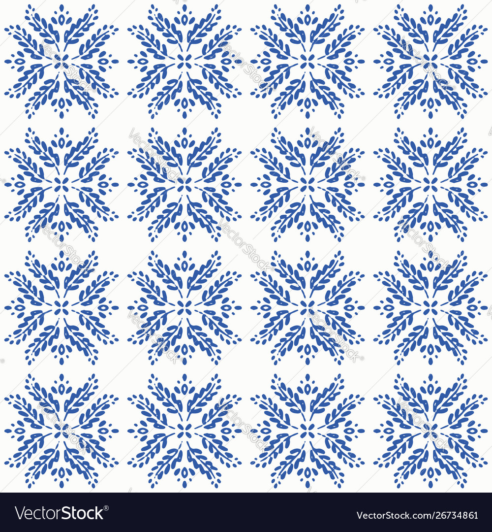 Indigo blue hand drawn seamless pattern