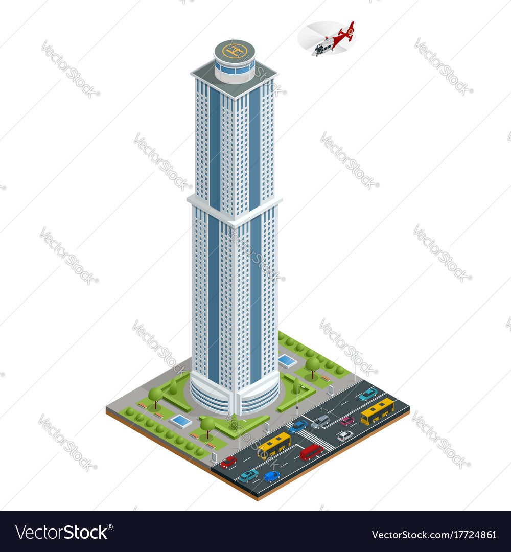 Isometric skyscraper with helipad on the roof