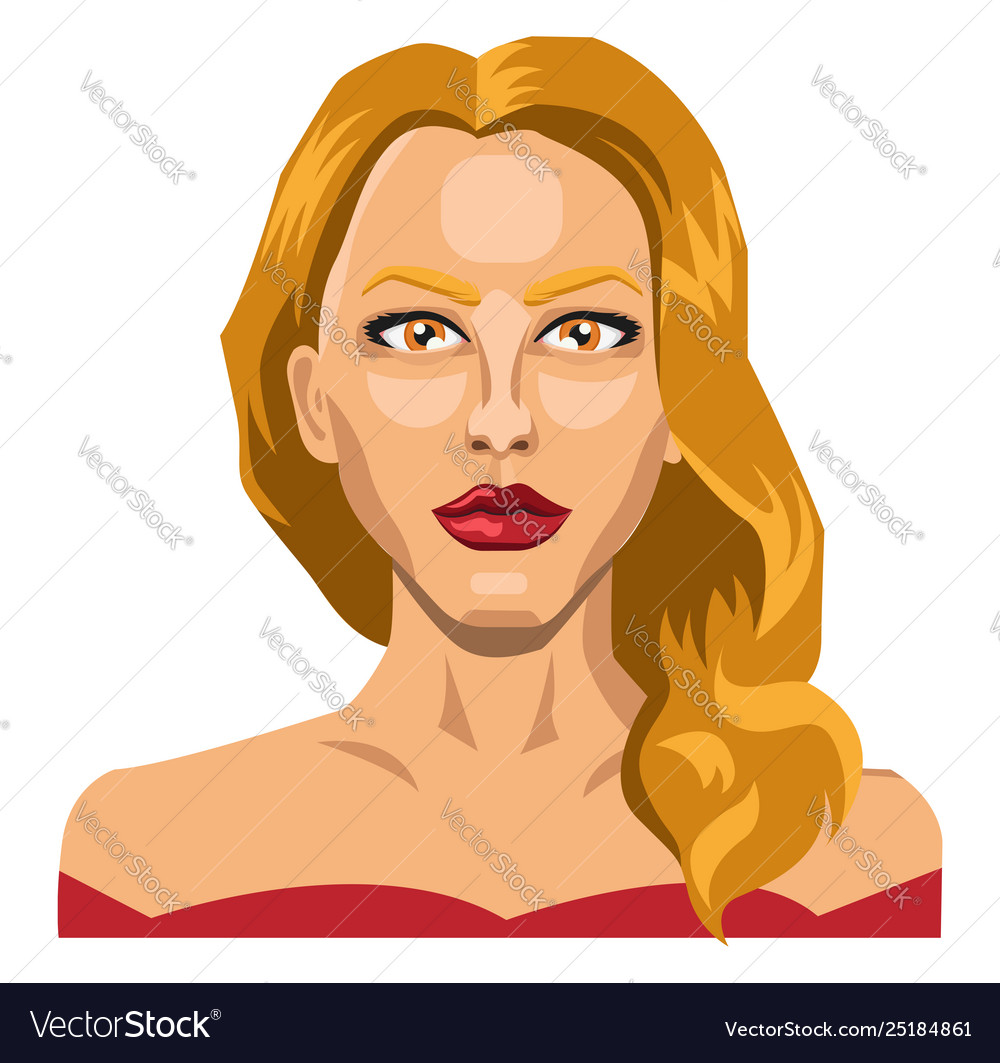 Long haired blonde lady on white background