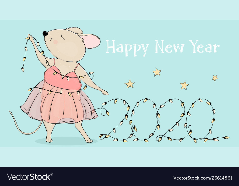 New Year 2020 Mouse And Christmas Lights
