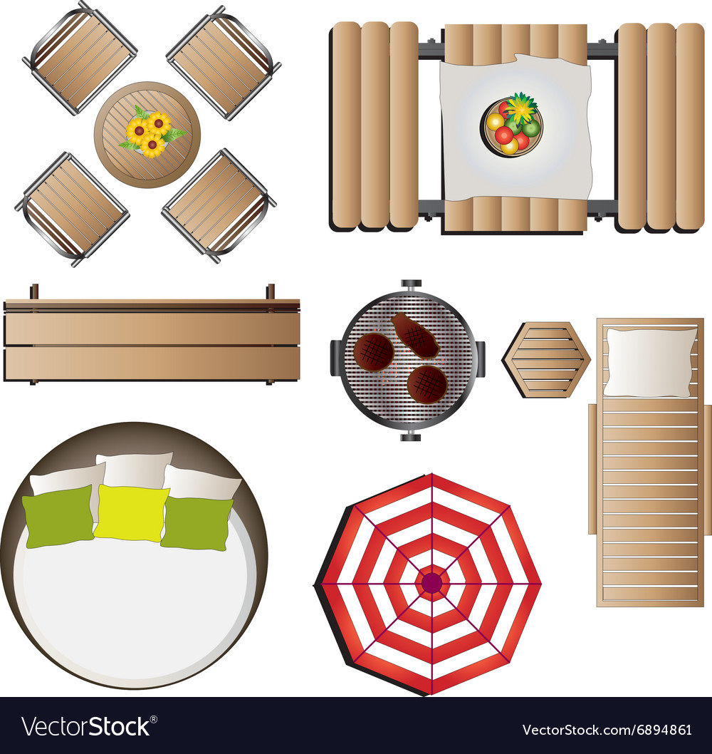 Outdoor furniture top view set 12 for landscape vector image