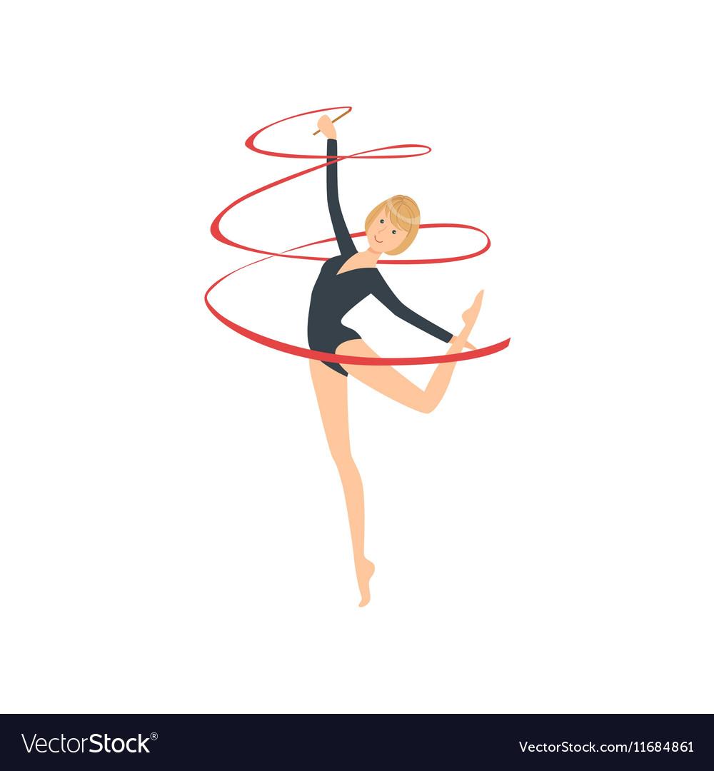Professional Rhythmic Gymnastics Sportswoman In vector image