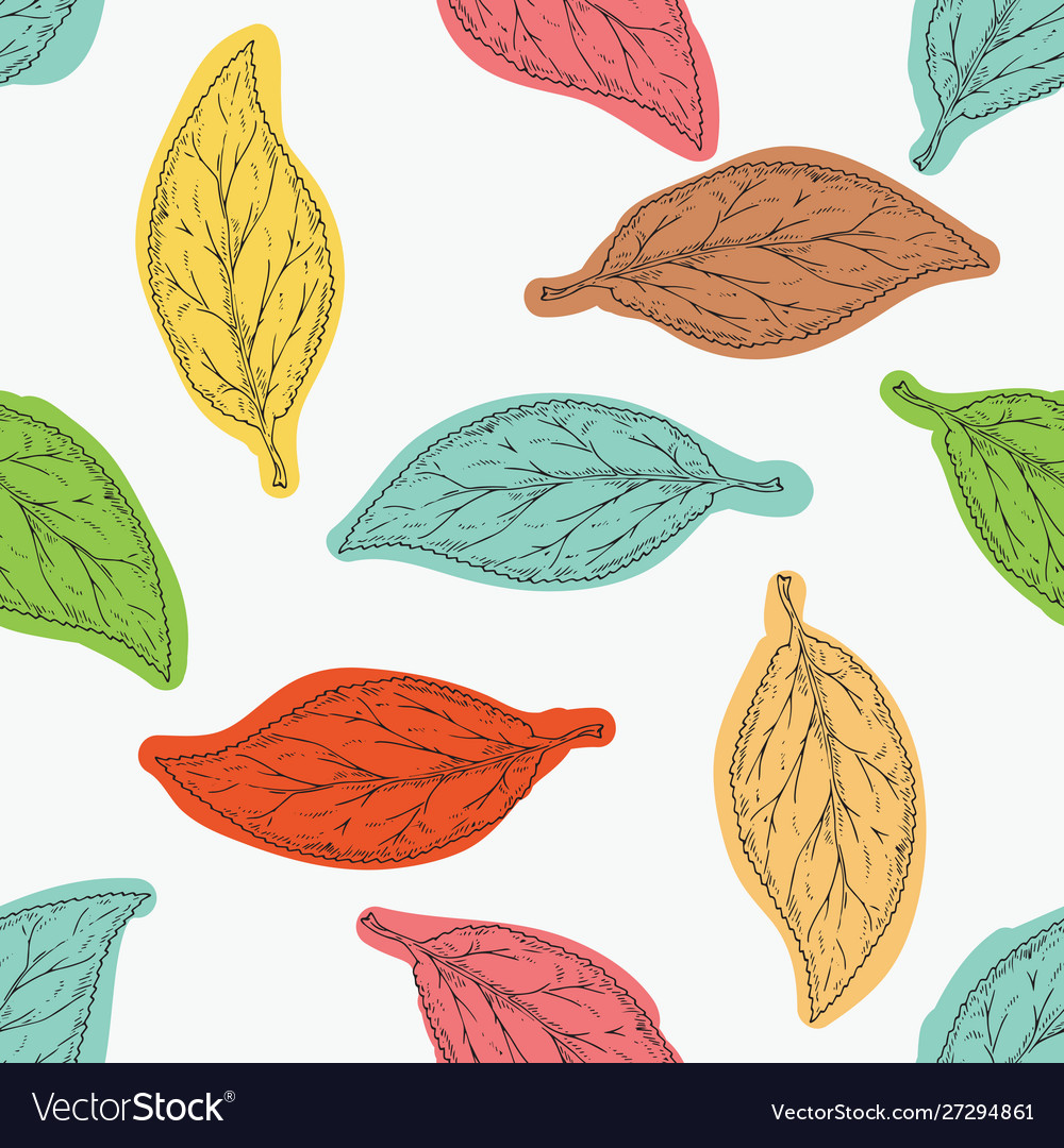 Seamless pattern with color beech leaves