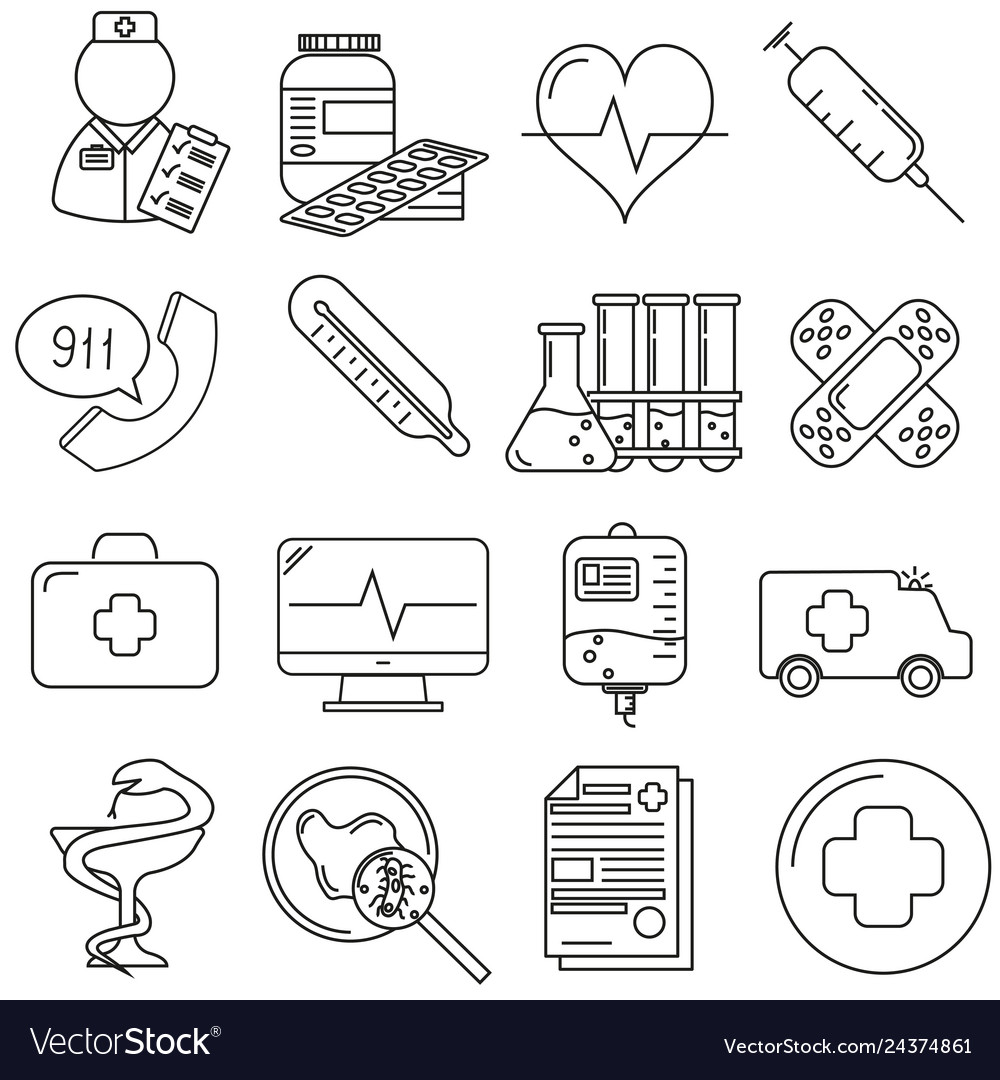 Set of icons in line style medical