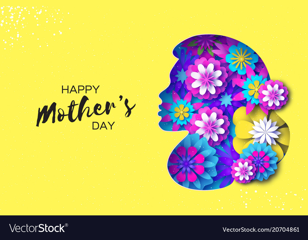 Silhouette of a mother in paper cut style happy
