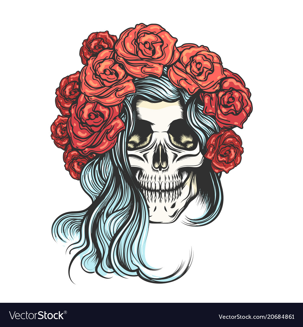 Skull in rose wreath