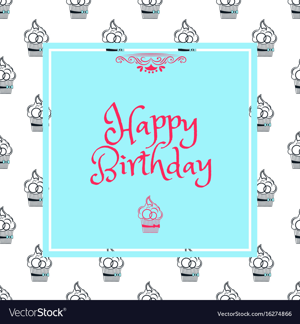 Birthday card in blue square
