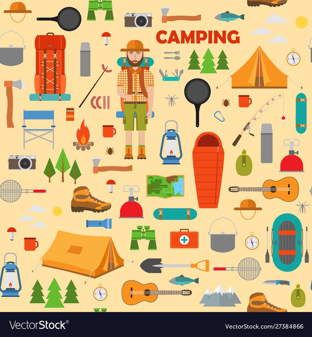 Camping hiking and fishing seamless pattern