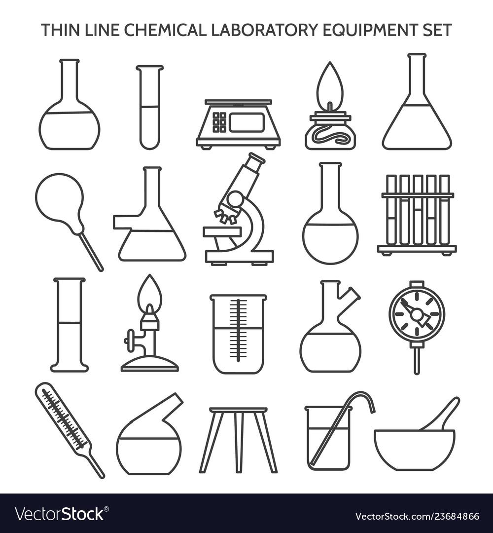 Chemical laboratory equipment line icons