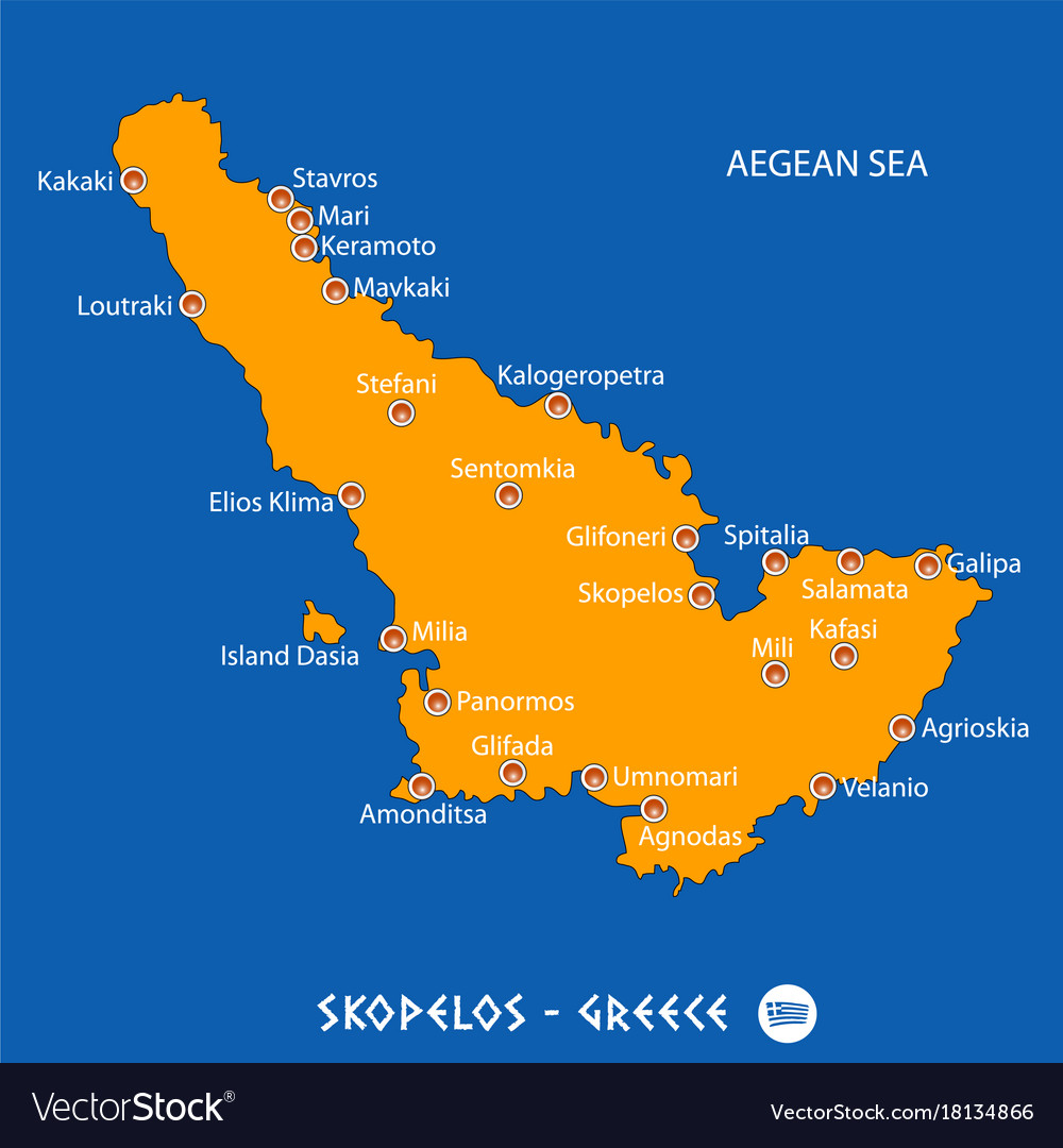 Map Of Skopelos Island Island of skopelos in greece orange map and blue Vector Image