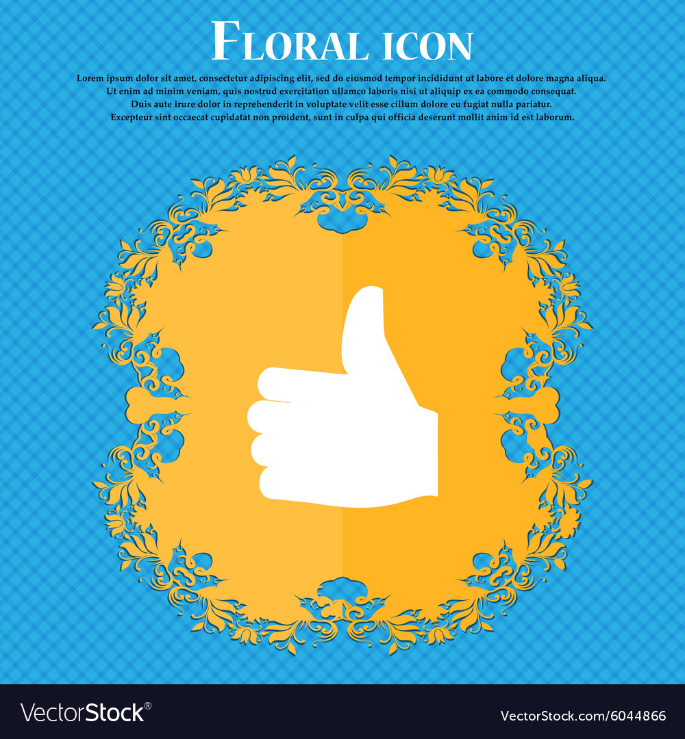 Like Thumb up Floral flat design on a blue