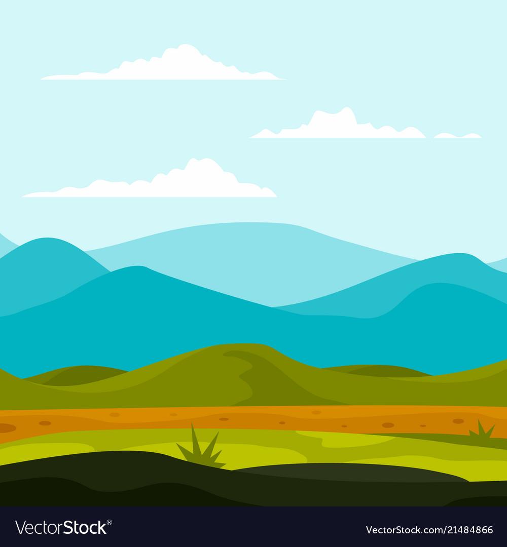 Mountains landscape background flat style