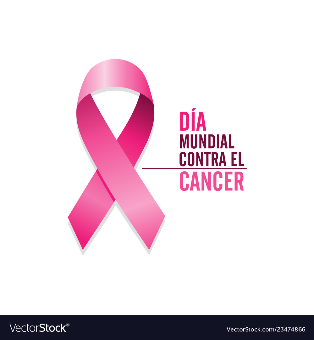 Pink cancer ribbon with spanish text