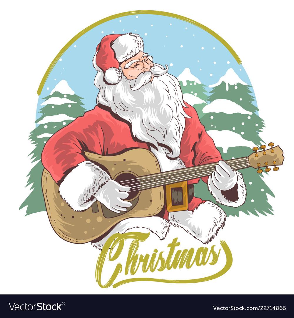 Santa claus merry christmas guitar